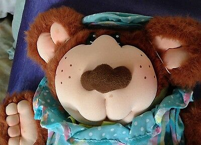 """VINTAGE XAVIER ROBERTS FURSKINS JUNIE MAE 14"""" PLUSH BEAR WITH DRESS OUTFIT"""