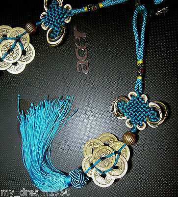 Feng Shui 8 FORTUNE COIN TASSEL BLUE HANGING PEACE CHINESE KNOT CAR DECORATION