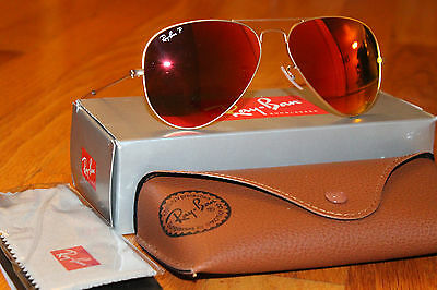 NEW AVIATOR RAY BAN RAYBAN Gold/Brown Mirror Red Polarized RB3025 112/4D