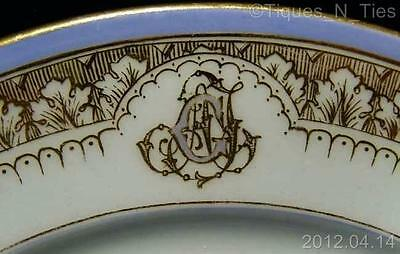 Antique 1870-1890 KPM China Family Crest AFG Monogram Plate Possible Royalty -EE