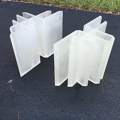 FAB ARCHITECTURAL POST MODERN FROSTED LUCITE TABLE BASES TO MAKE A COFFEE TABLE
