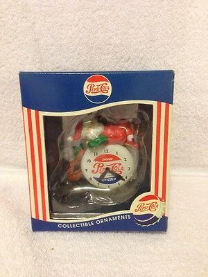 1997 Matrix Pepsi-Cola Collectible Ornament Santa On A Clock