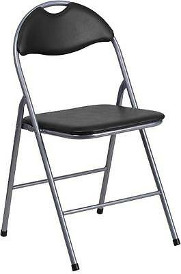 Lot Of 20 Black Vinyl Metal Folding Chairs With Carrying Handle