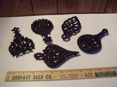 Lot of 5 Vintage Iron Trivets Marked Wilton
