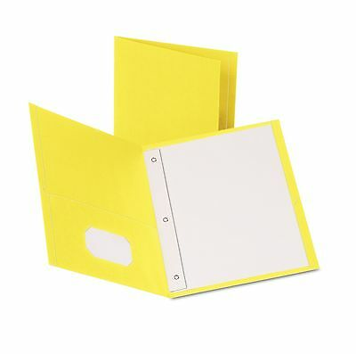 """Oxford Twin Pocket Folders with 3 Fasteners Letter 1/2"""" Capacity Yellow 25 Box"""