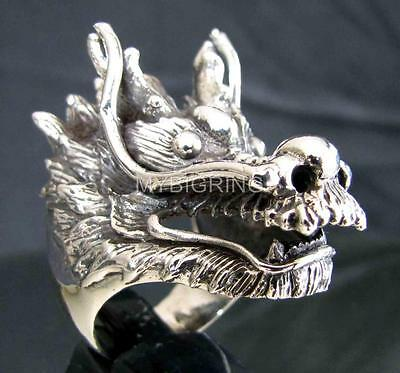 SILVER MEDIEVAL DRAGON HUNTER SLAYER RING HEAVY METAL DRACO ANTIQUED ANY SIZE