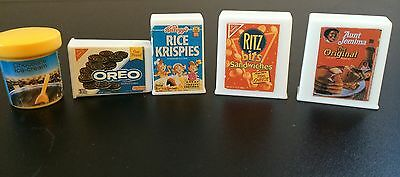 Dollhouse Food Pieces Lot Of 5 Oreo Rice Krispies Ritz 1/2""