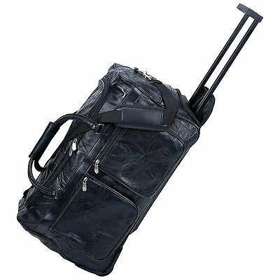 """Embassy™ 21"""" Italian Stone™ Design Genuine Leather Rolling Trolley/Tote Bag"""