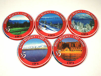 HYATT REGENCY Casino $5 Chip Set Incline Village/Lake Tahoe Nevada Scene 2000 NV