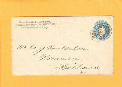 Harvey Lucy & Co BALTIMORE Racetrack #2 Cancel To Holland 1892 PSE Z64