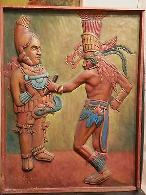 OLD Listed Artist Fine Primitive Folk Art WOOD Carving Sculpture with PAINTING