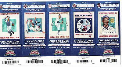 2014 CHICAGO CUBS PICK YOUR GAME SOLER BAEZ 100 ANNIVERSARY TICKET STUB 2nd HALF