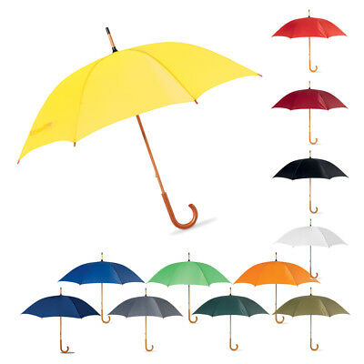 "42"" Classic Wedding Umbrella with Wooden Curved Handle - Manual Opening Brolly"