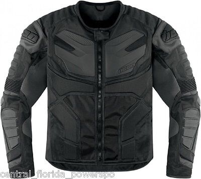 Icon Men's Overlord Resistance Black Motorcycle Jacket Stealth SIZE LARGE