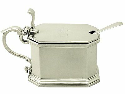 Britannia Standard Silver Mustard Pot by Carrington & Co -Antique Edwardian 1909