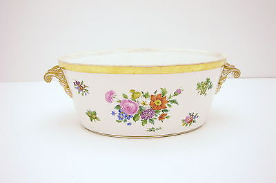 Large KPM jardiniere Serving Bowl w Second mark Hand Painted Gold & White Floral