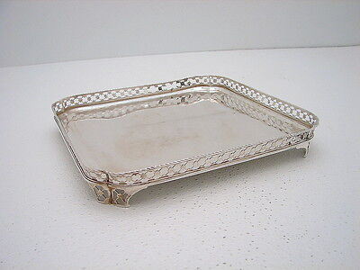 """Dutch Sterling Silver Square GaleryTray Footed Hallmarked c1770 26.1oz 11"""" X 11"""""""