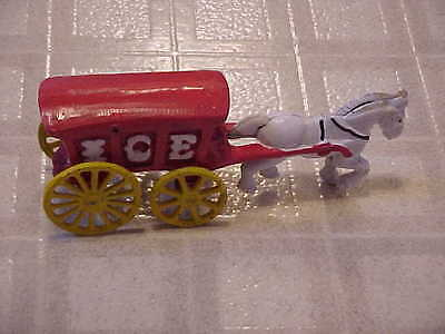 Vintage Colorful Cast Iron Horse Drawn Ice Wagon