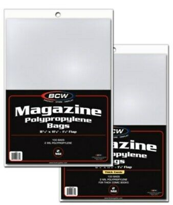 300 BCW THICK Magazine NON-RESEAL 2 mil Poly Bags + Acid Free Backer Boards