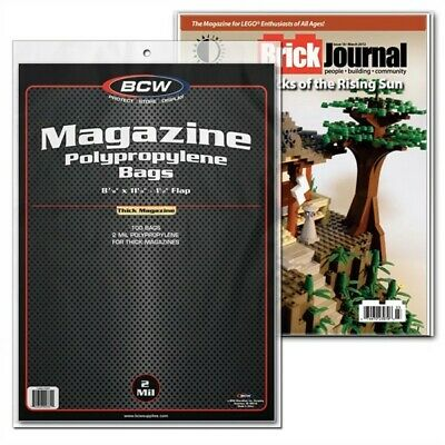 100 BCW THICK Magazine Non-Resealable Poly Bags +100 Acid Free Backer Boards