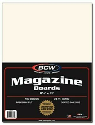 500 BCW Magazine / 8.5x11 Document Size Acid Free White Backing Boards backer