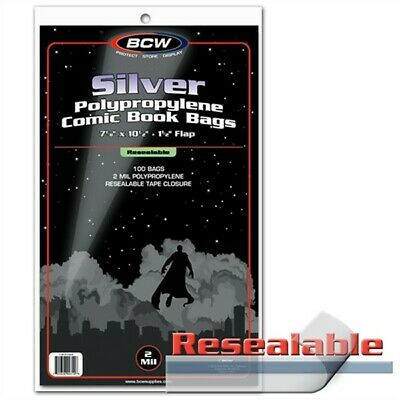100 BCW RESEALABLE Silver Age /Era Comic Book Poly Bags +Acid Free Backer Boards