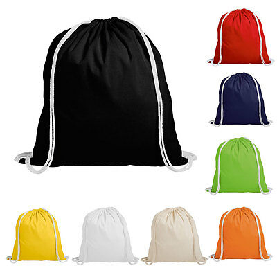 100% Cotton Drawstring Rucksack Backpack - Eco Tote Bag School Gym PE Book BN
