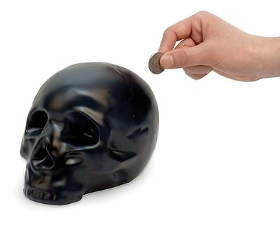 Black Skull Money Box Piggy Bank Spooky Gothic Halloween Savings Jar