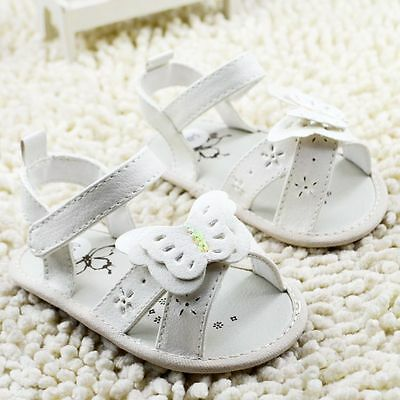 Infant Baby girl White Butterfly sandals size 0-6 6-12 12-18 months