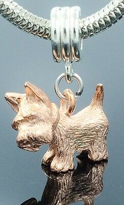 3 D Westie Terrier Charm Copper plated Pewter on Silver Slider