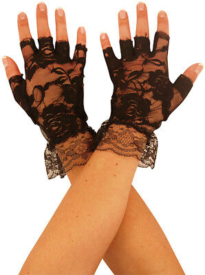 Short Black Lace Fingerless Gloves 80s Disco Ladies Fancy Dress Halloween Witch