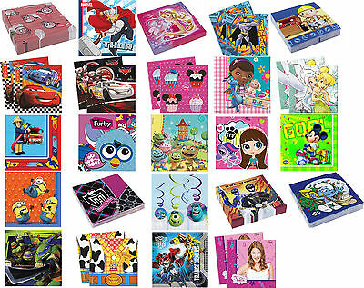 20 PARTY NAPKINS - Range of LICENSED CHARACTER DESIGNS (Birthday Supplies)(SetC)
