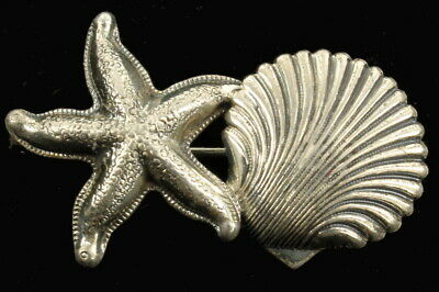 """Vintage Deco Sterling Scallop Shell & Starfish Very Detailed Pin From Beau 2"""""""
