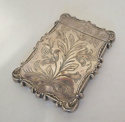 Antique 1850s Coin Silver Bright Cut Calling Card Case Aesthetic Pattern