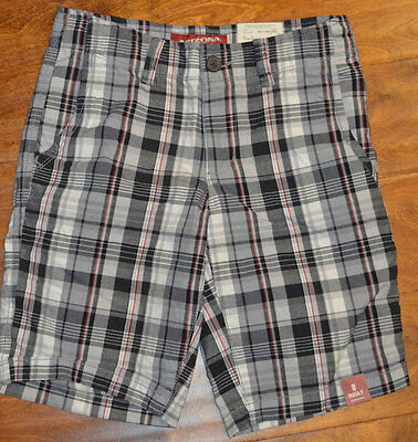 NWT-Boys Overdrive Red Flat Front Plaid Adjustable Waist Cargo Shorts-sz 10 /& 14