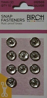Birch Press Studs Size (2) 11Mm 10 Sets Snap Fasteners Nickel Rust Proof