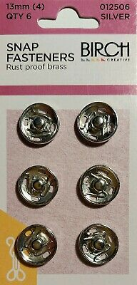 Birch Press Studs Size (4) 13Mm 6 Sets Snap Fasteners Nickel Rust Proof