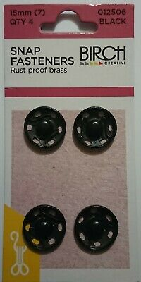 Birch Press Studs Size (7) 15Mm 4 Sets Snap Fasteners Black Rust Proof