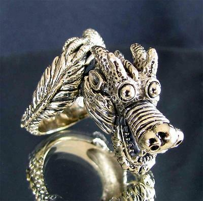 BRONZE MEDIEVAL DRAGON HUNTER SLAYER RING HEAVY METAL DRACO 2 ANTIQUED ANY SIZE