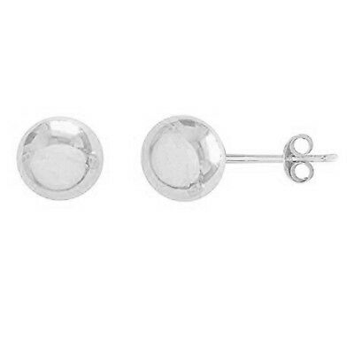 14K Real White Polished Gold Ball Stud Post Earrings 5mm