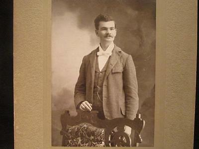 W H McCormick Imlay City Mich Antique Matted Cabinet Portrait Young Man