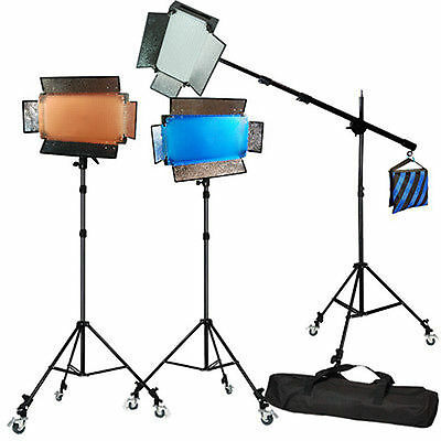 Lusana Studio 600 LED Panel Light Barndoor Video Lighting Boom Stand Kit