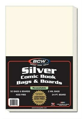 Pack of 50 BCW Resealable Silver Comic Book Bags + Acid Free Backer Boards