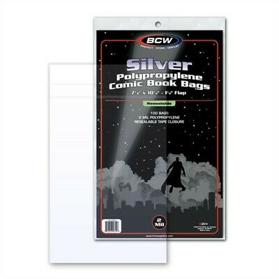 200 BCW Resealable Silver Age Comic Book Acid Free 2mil Poly Bags 7 1/8 x 10.5