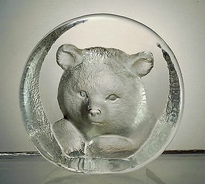 Signed Labeled Glass Mats Jonasson Baby Bear Cub Crystal Paperweight Sculpture.