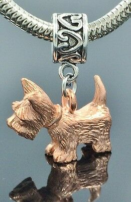 Westie Lovers  Charm on Heart Print Slider Bead for Bracelet OR Necklace
