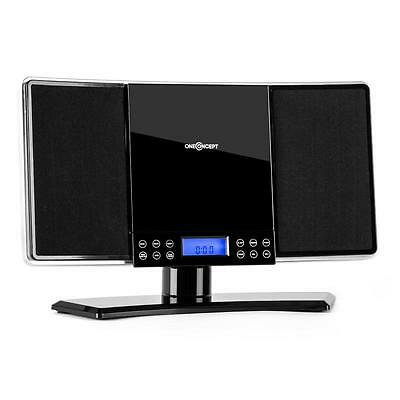 Wall Mountable Audio Sound Home Stereo System Mp3 Music Hifi Cd Fm Aux - Black