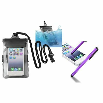 Black Waterproof Bag Cover+Purple Stylus For iPod 4