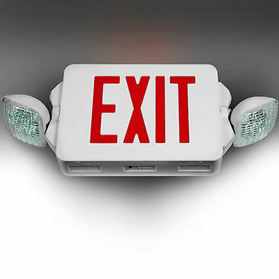 LED Exit Sign & Emergency Lighting Red Compact Combo UL 924 EL2CR
