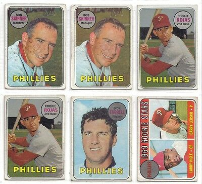 1969 TOPPS PHILADELPHIA PHILLIES LOT OF 8 WITH 6 DIFFERENT